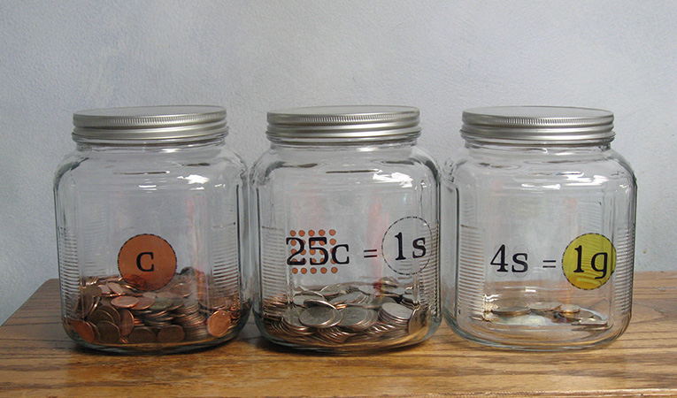 saving money in jars