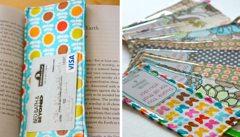 gift card in a bookmark