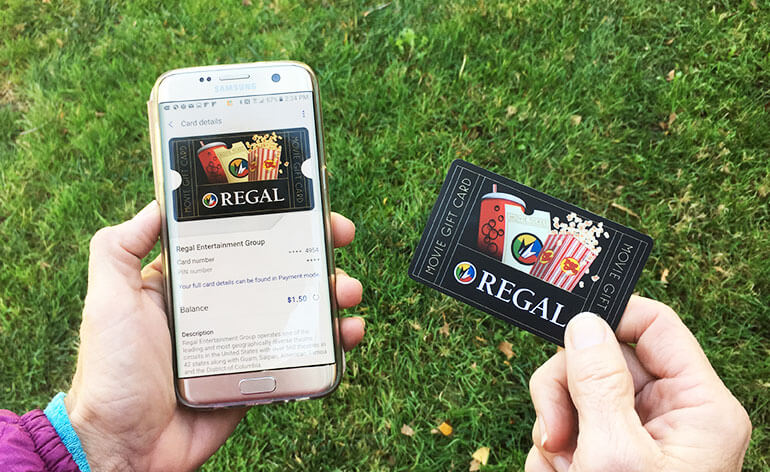 regal gift card in samsung pay mobile wallet