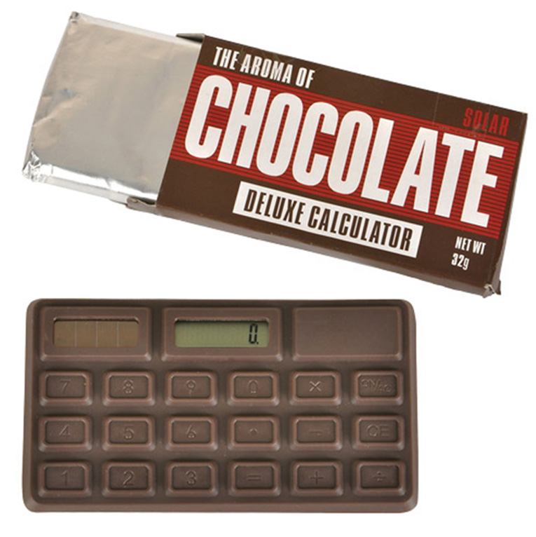 Give a chocolate calculator with a gift card to his favorite candy shop