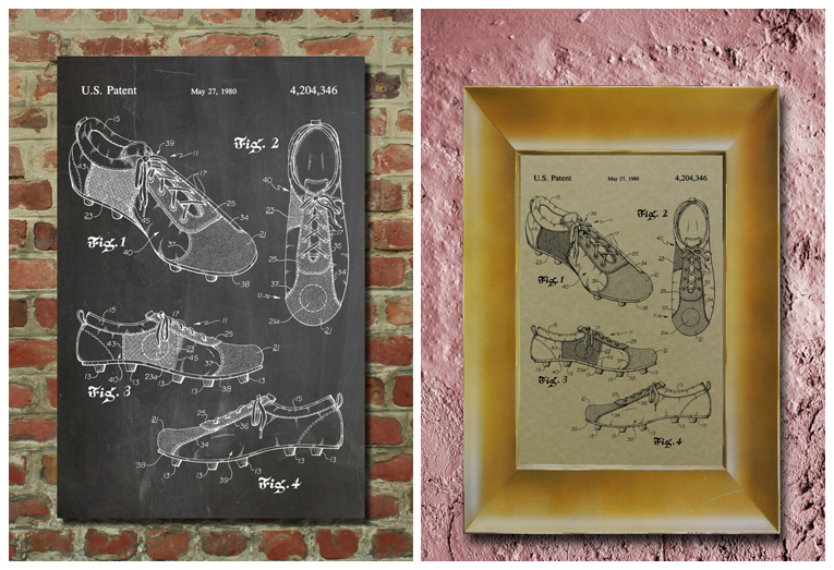 patent wall art for soccer lover