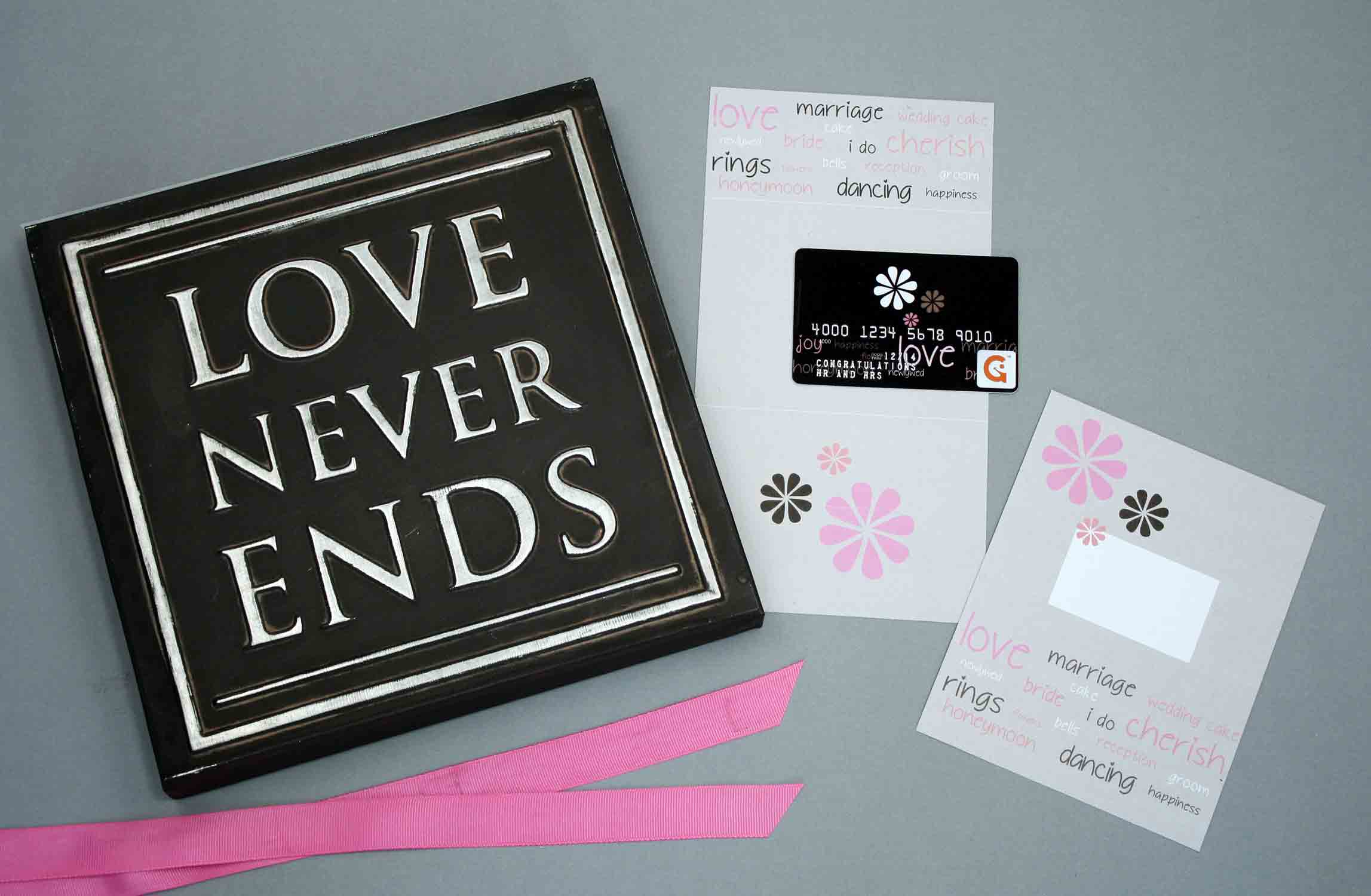 love gift card with craft supplies