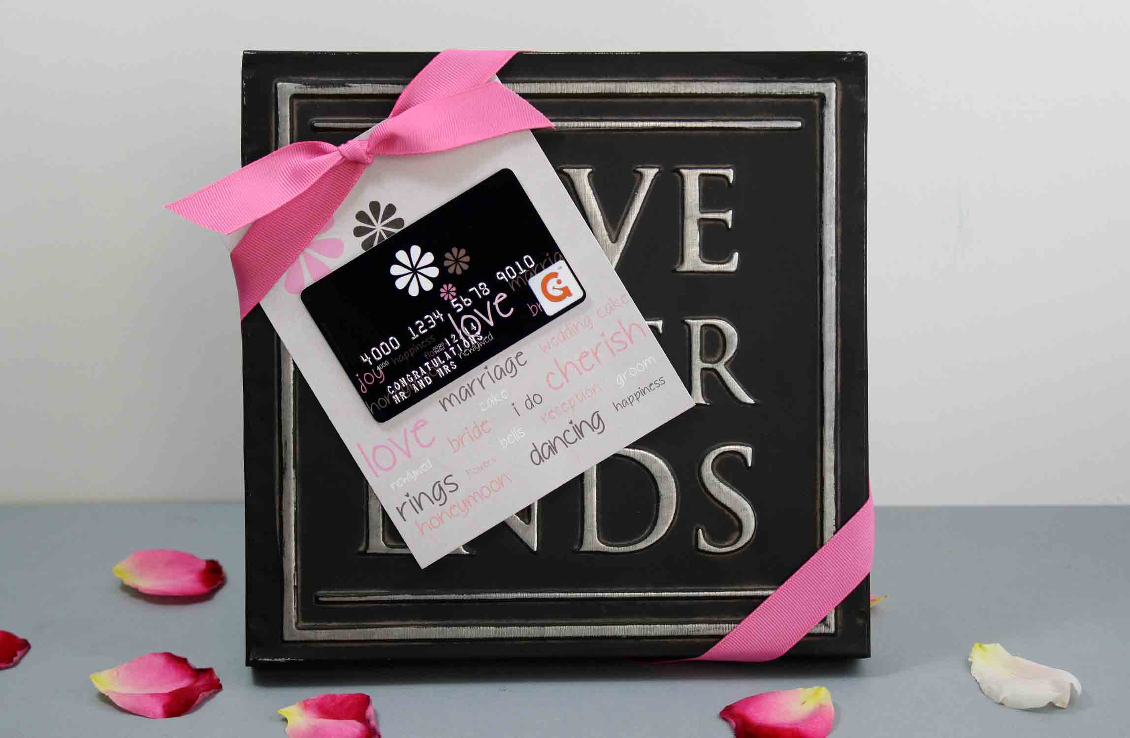 love quote with wedding gift card