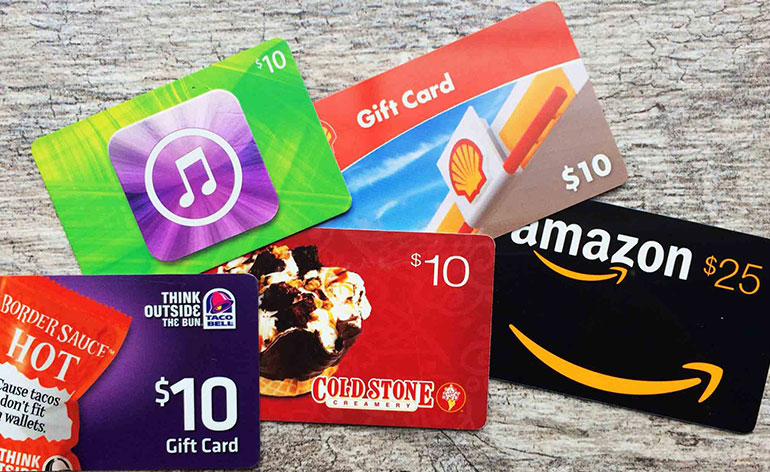 gift cards in different denominations