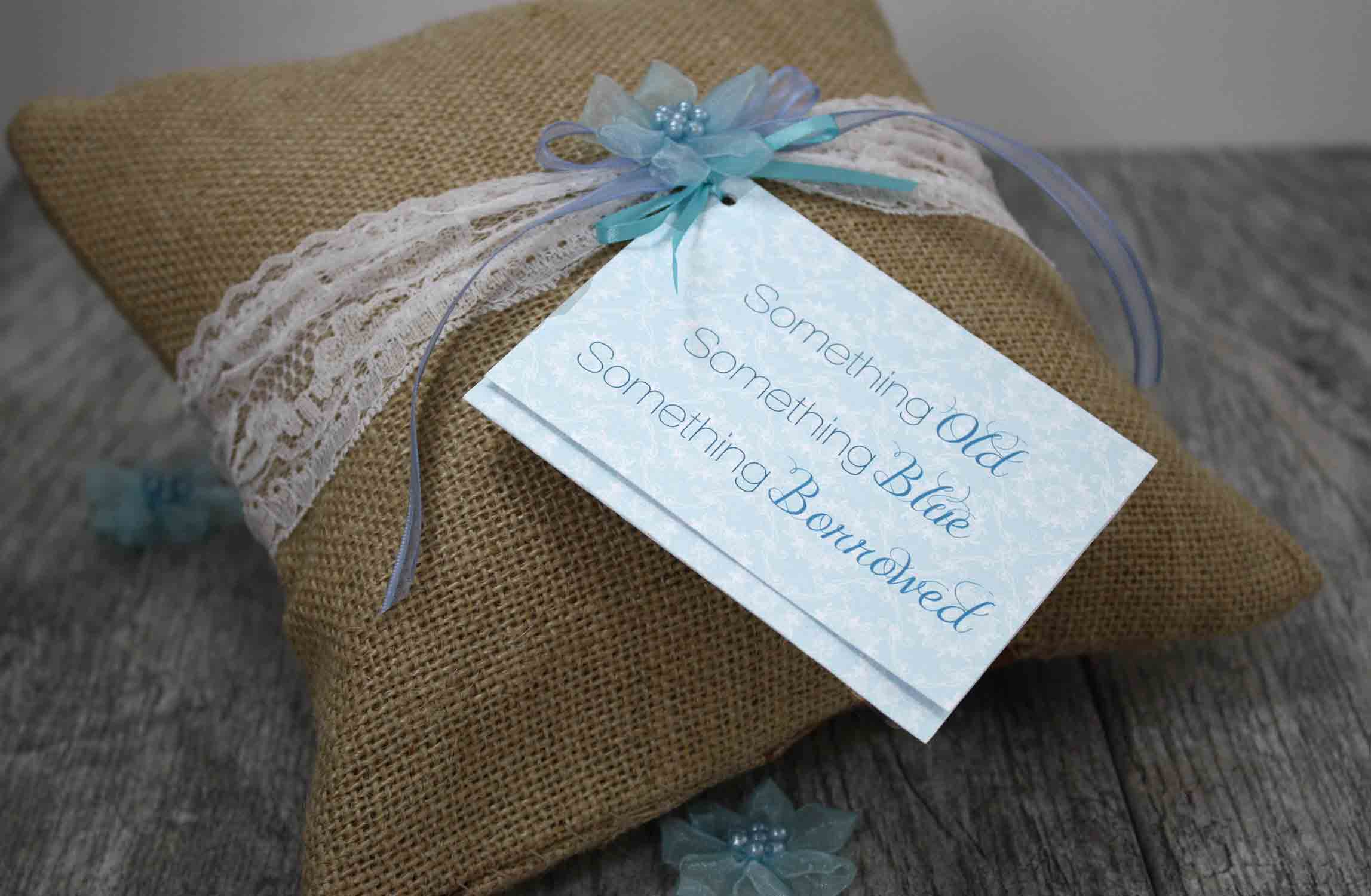 burlap pillow with gift card