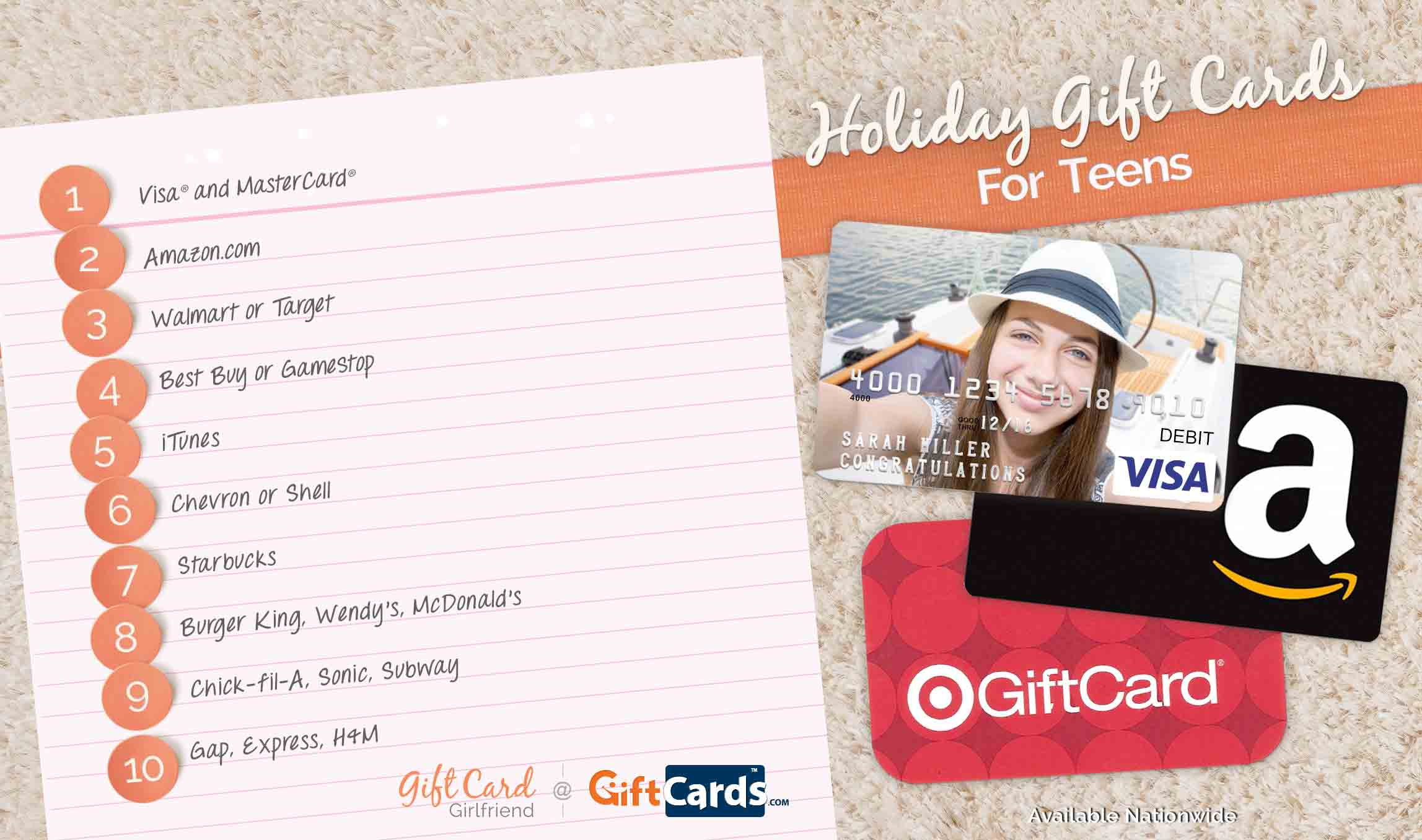 top gift cards for teens