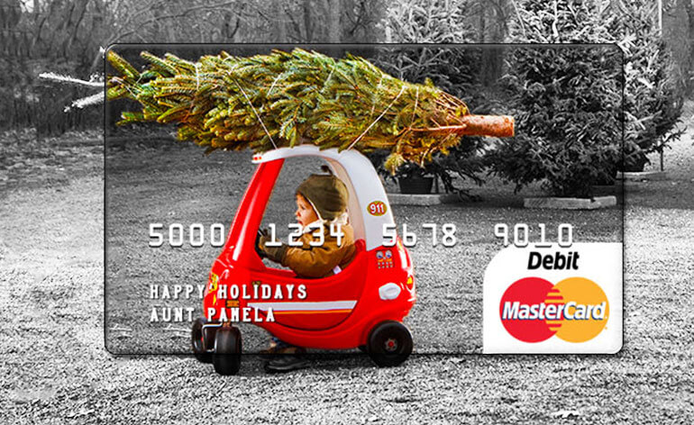 personalized mastercard gift card with christmas image