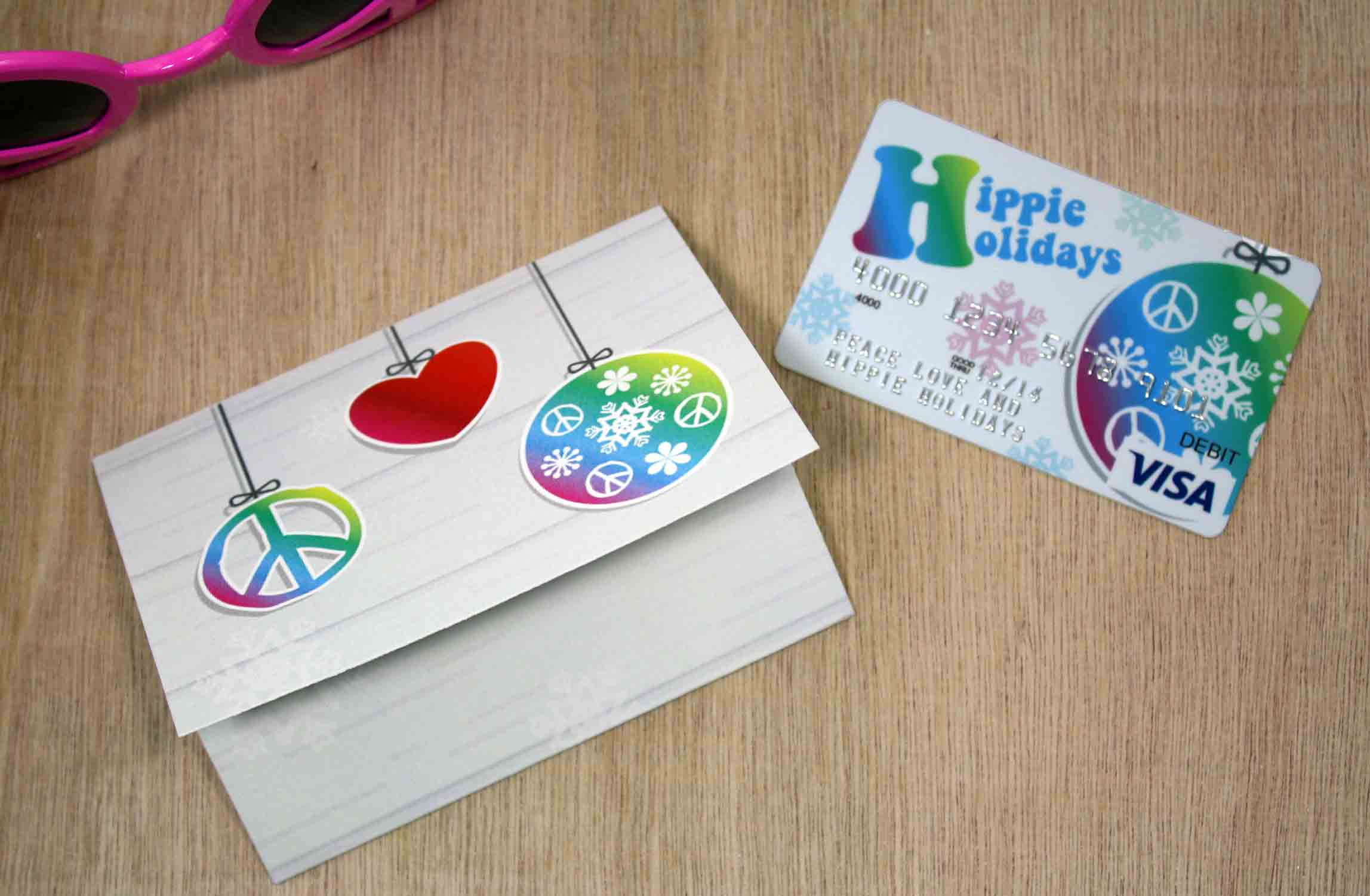 Free Printable Hippie Holidays Gift Card Holder