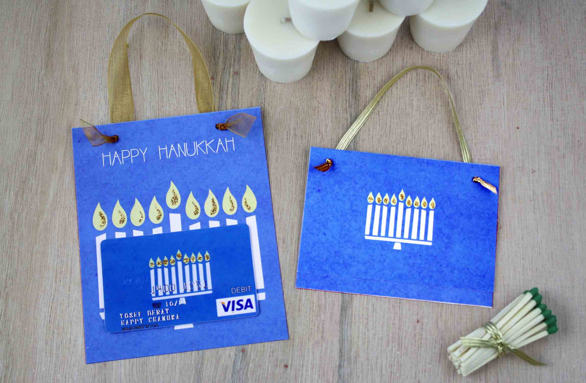 picture regarding Printable Hanukkah Card known as Cost-free Printable Reward Card Holder for Hanukkah GCG