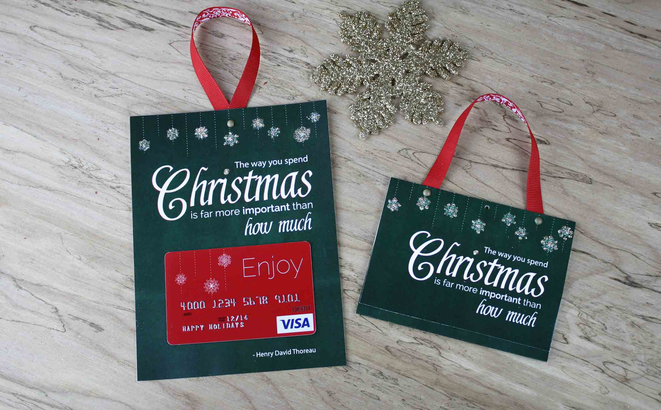 free printable gift card holder spend christmas