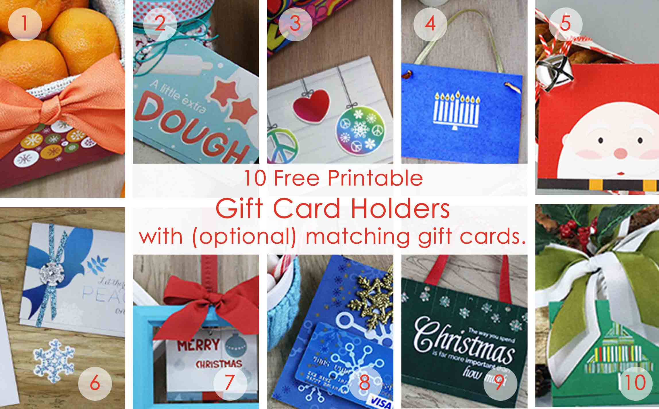 OVER 50 Printable Gift Card Holders For The Holidays