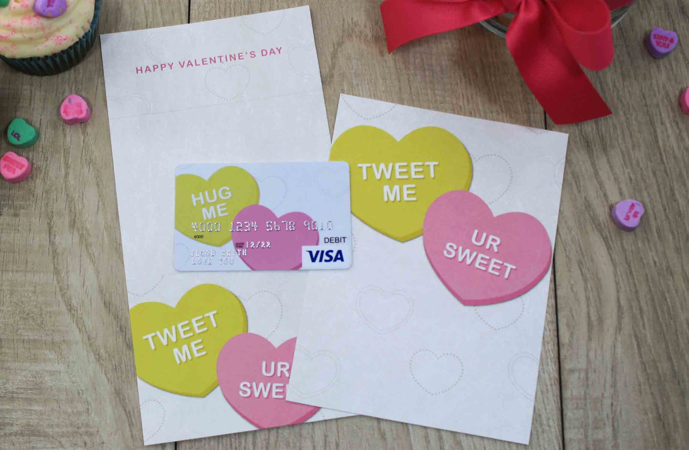 converation heart gift card and holder
