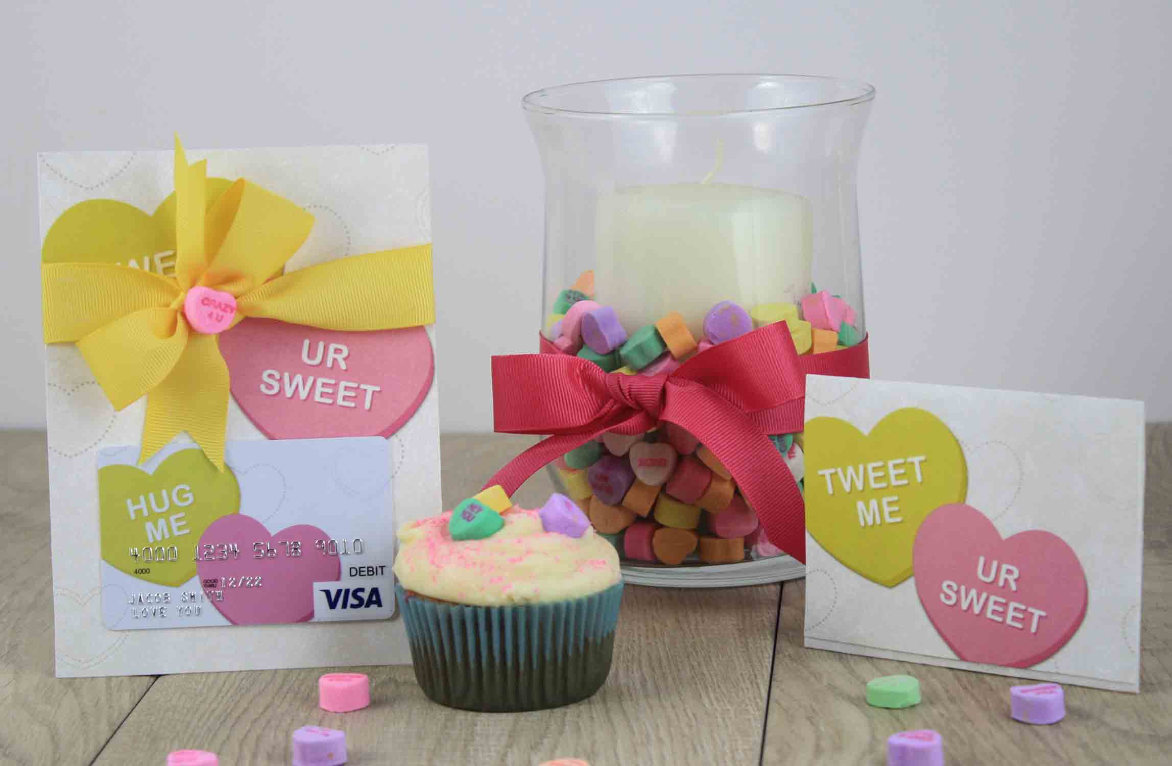 conversation hearts with gift card