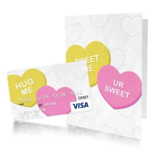 greeting card with conversation hearts