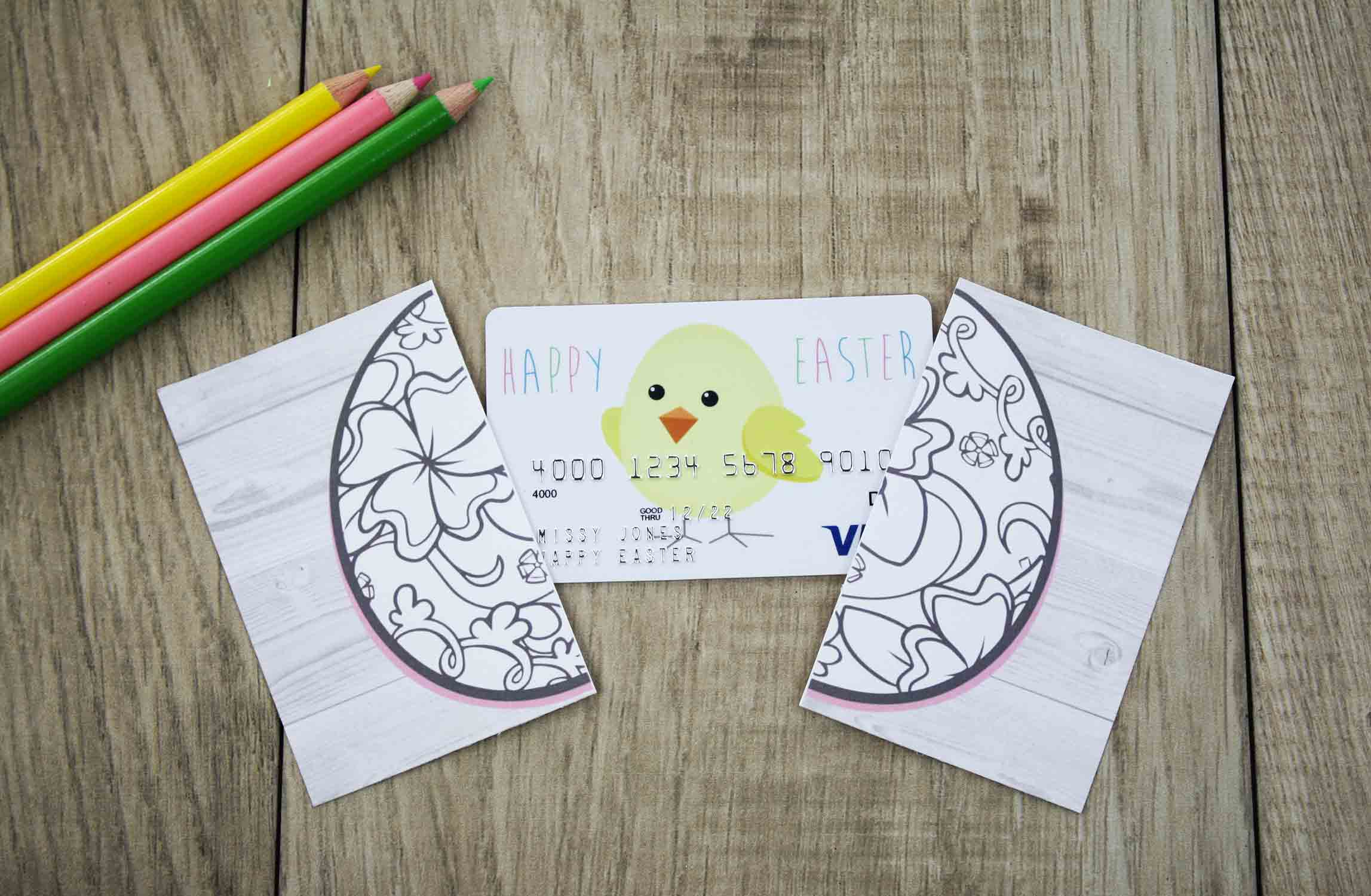 Free printable easter gift card holder to color gcg crack the egg supplies negle Choice Image