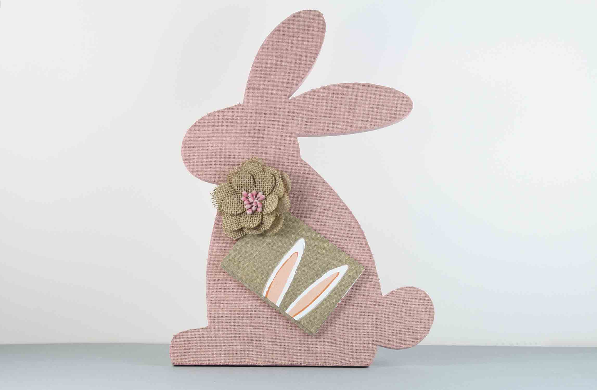 finished burlap bunny