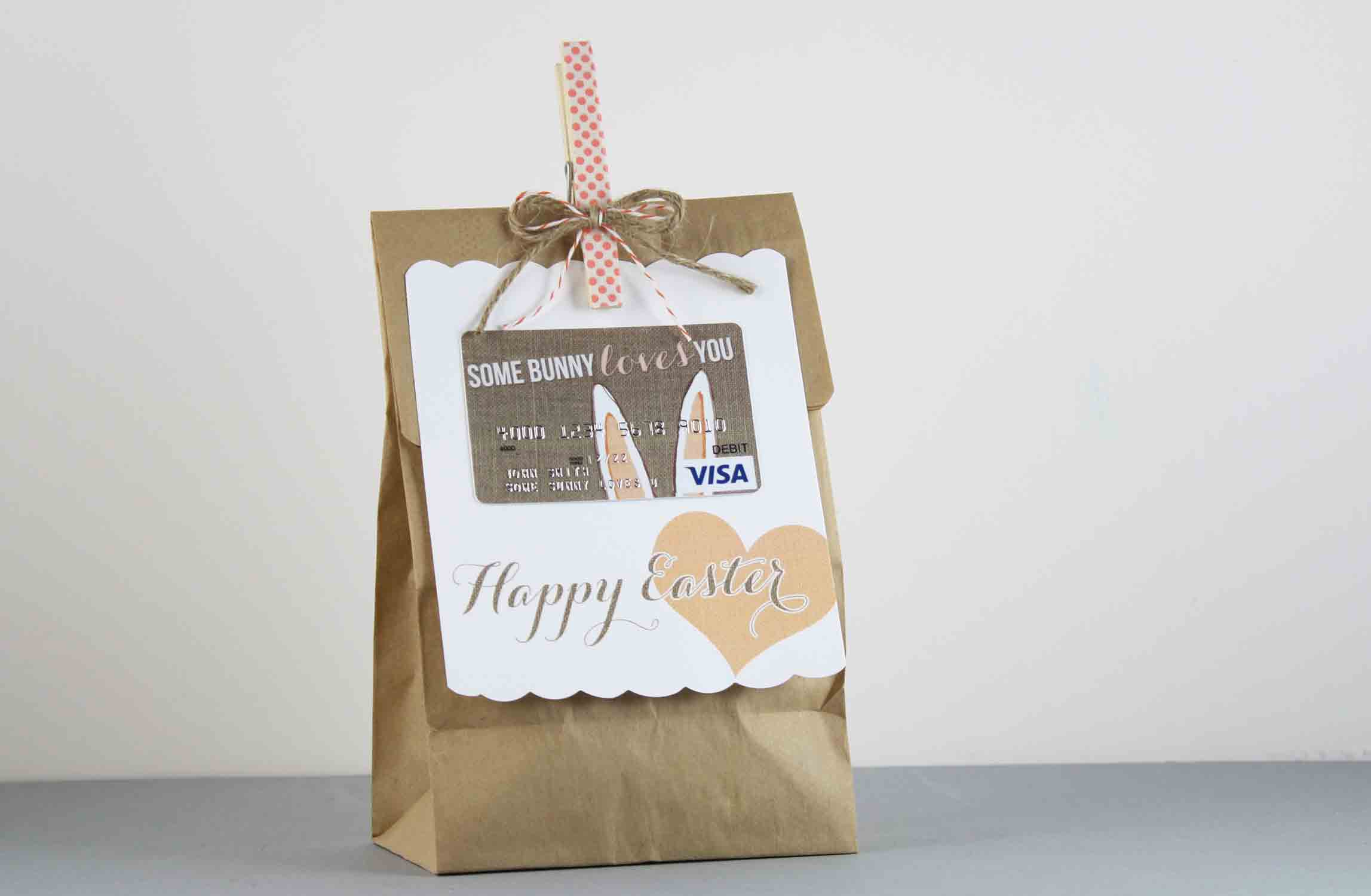 burlap bunny with bag to hold treats