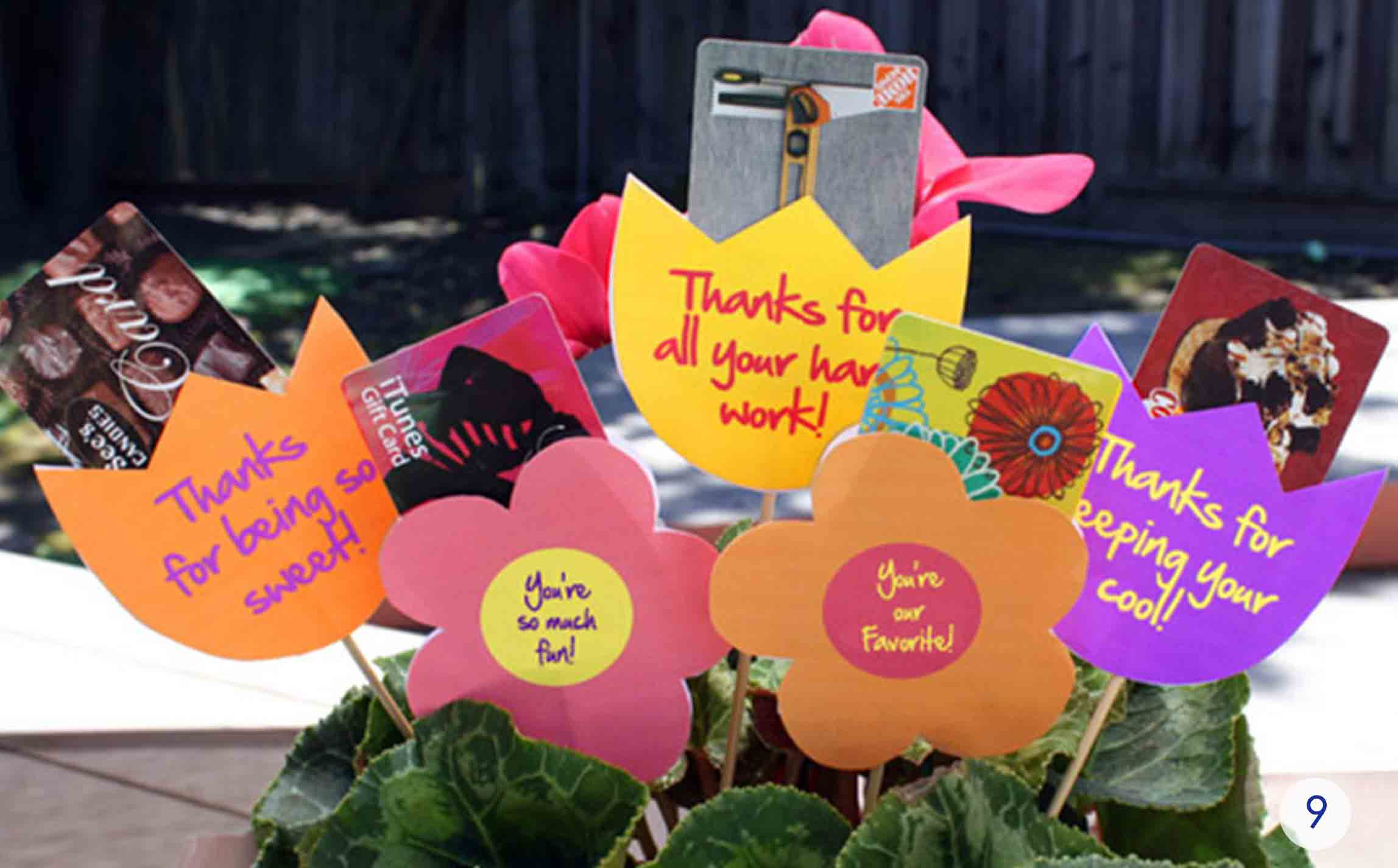 printable teacher appreciation gift here gift card bouquet