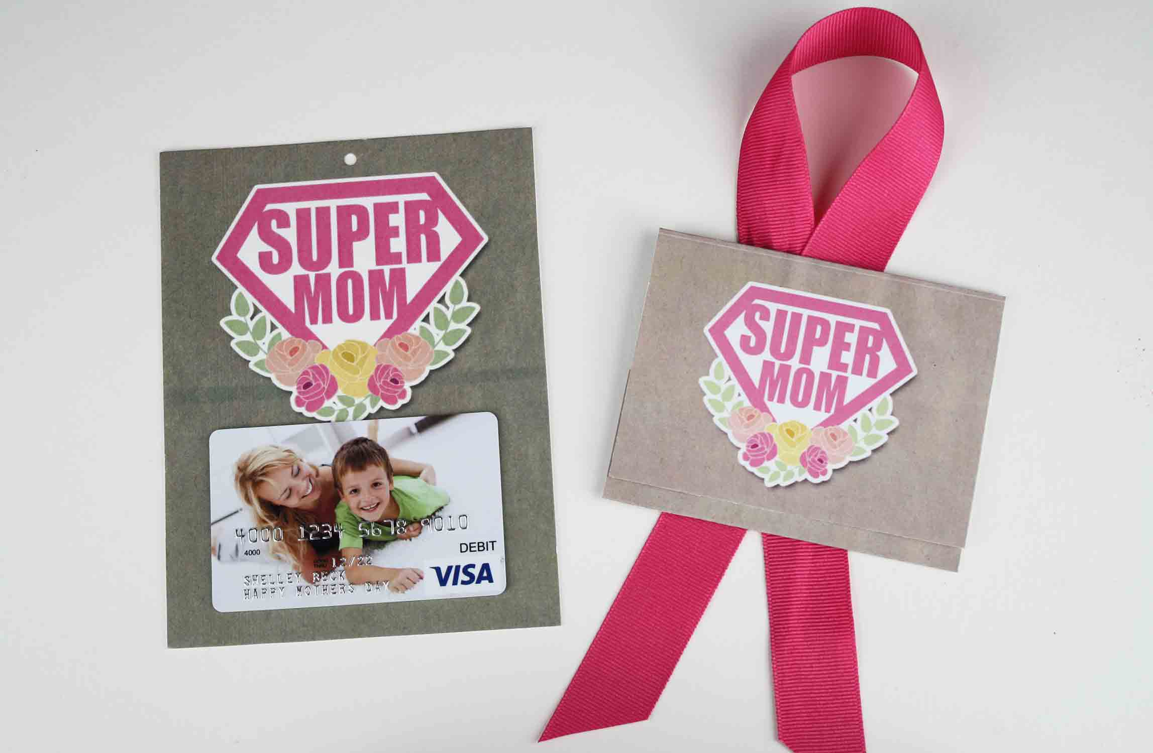 finished supermom folded gift card holder