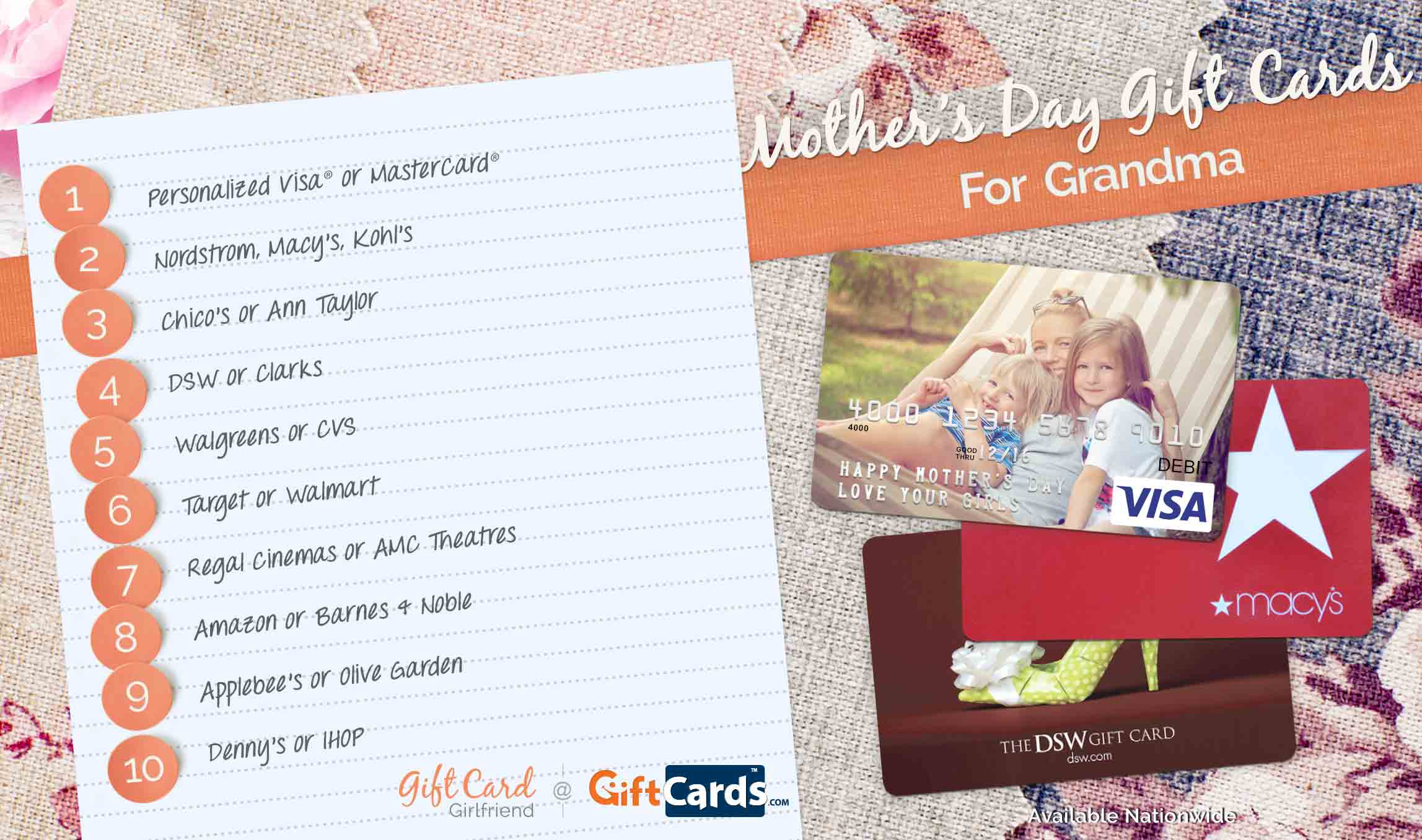 Top 10 Mother's Day Gift Cards for Grandma | GCG