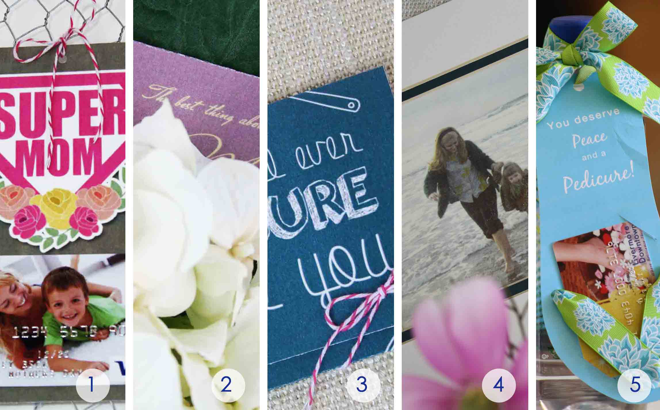 round up of 5 printable mother's day gift card holders