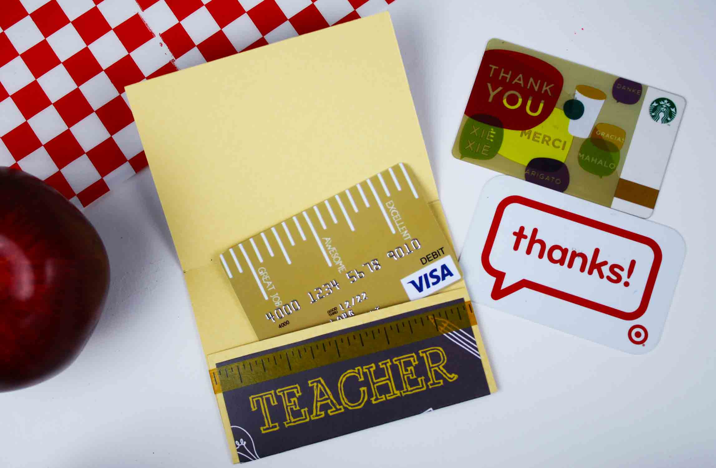 Put ruler gift card inside