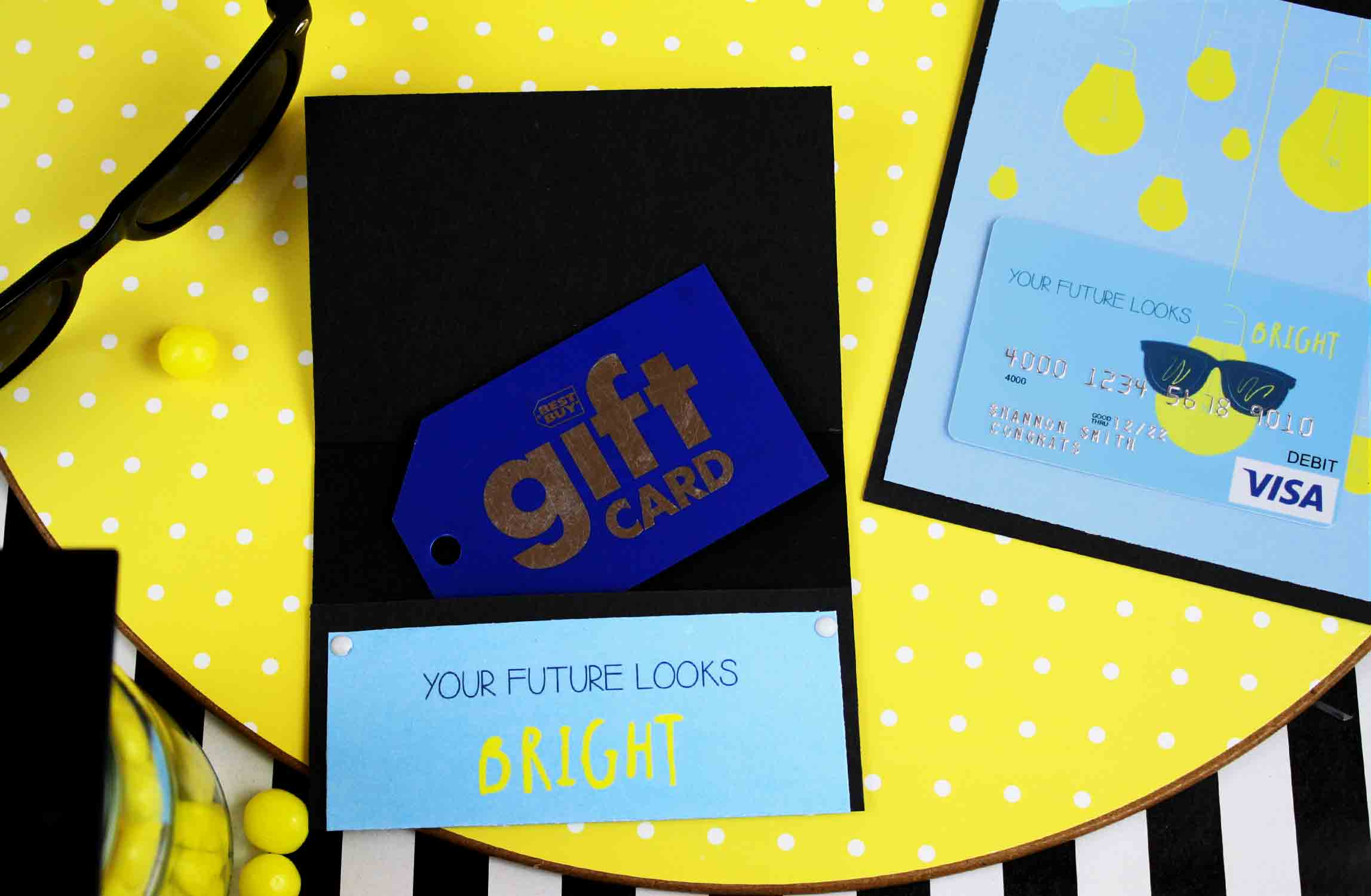 folded gift card holder with best buy gift card
