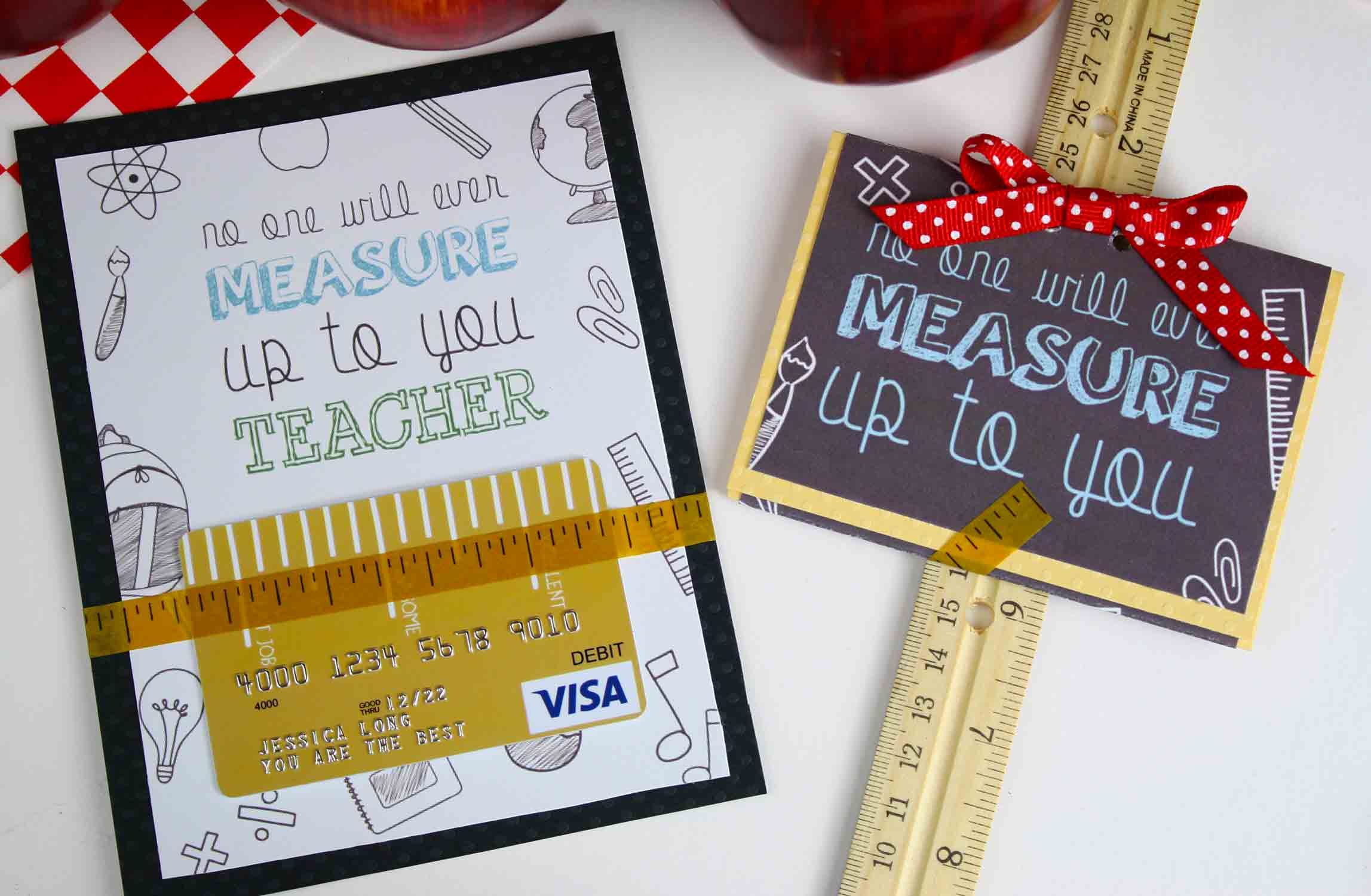 "Put ""measure up"" gift card on a ruler"