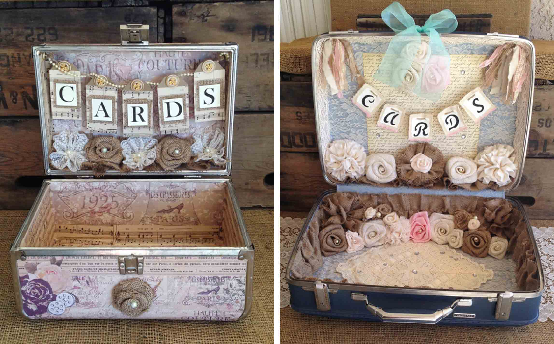 Vintage luggage to hold gift cards at wedding