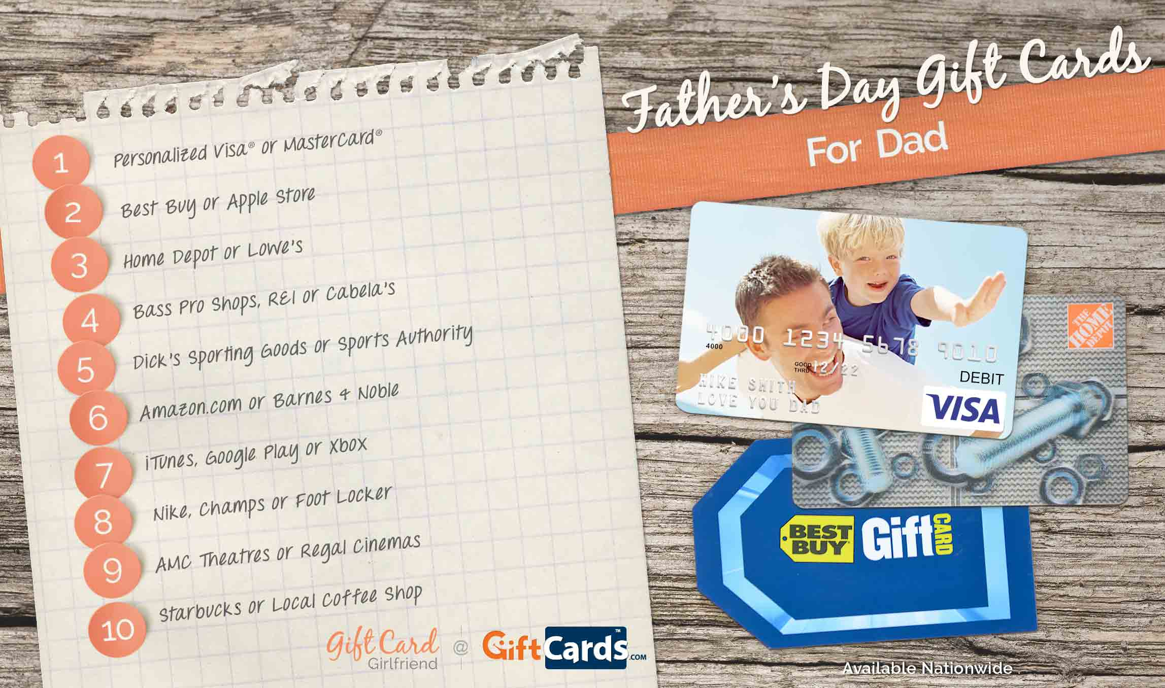 Top 10 Father's Day Gift Cards for Dads | GCG