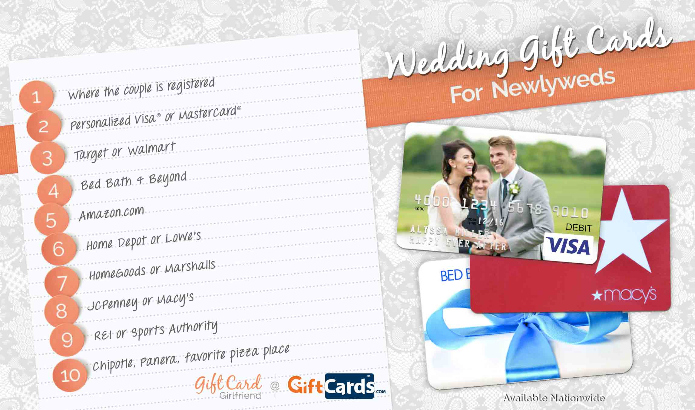 Top 10 wedding gift cards to buy for newlyweds gcg for Home depot wedding gift registry
