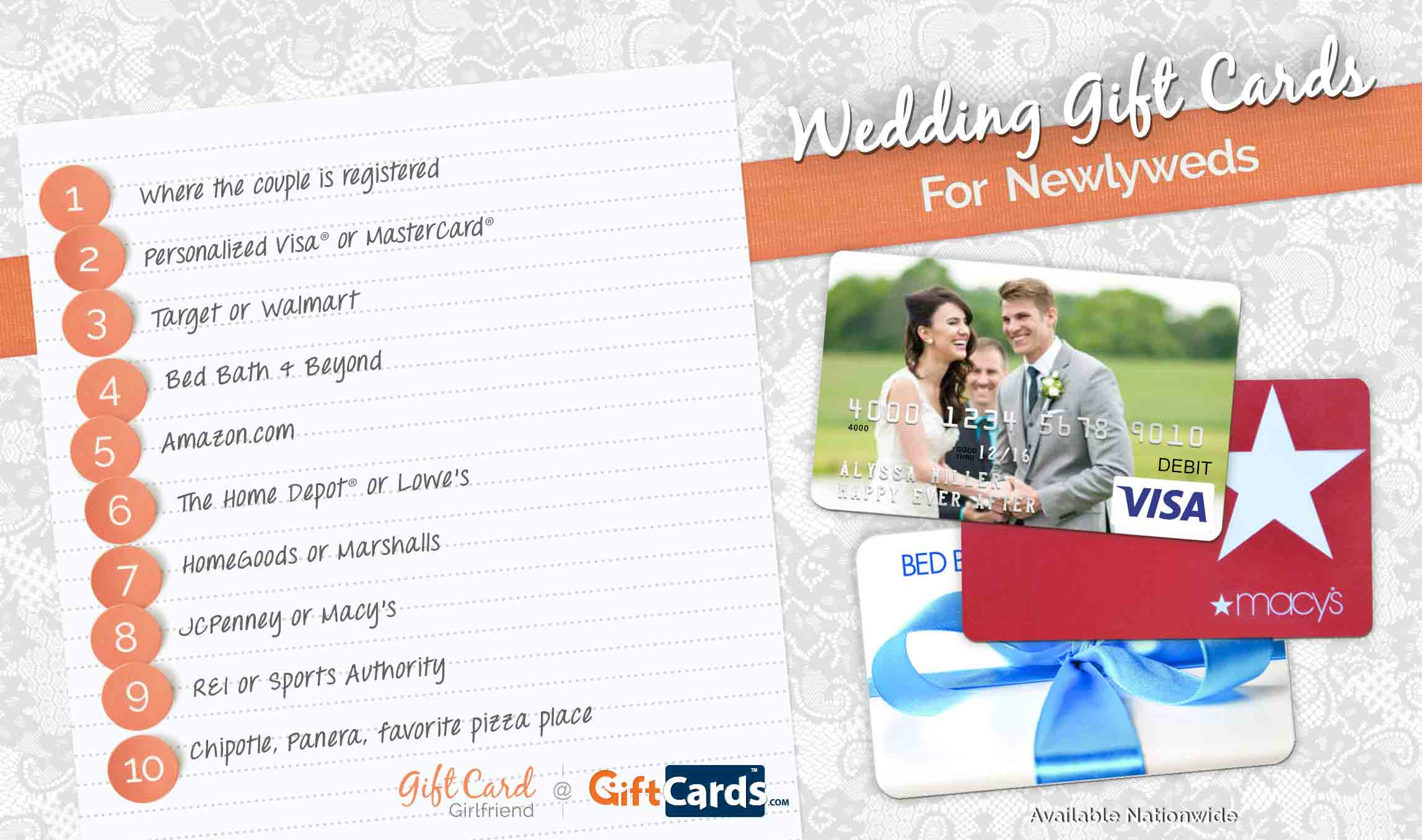 Top 10 Wedding Gift Cards to Buy for Newlyweds | GCG