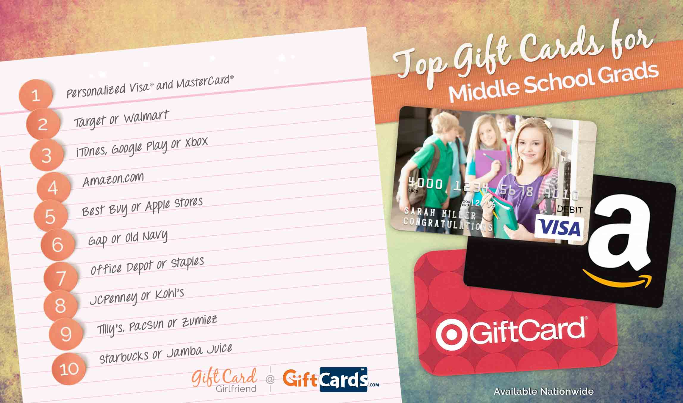 top gift cards for middle school graduates