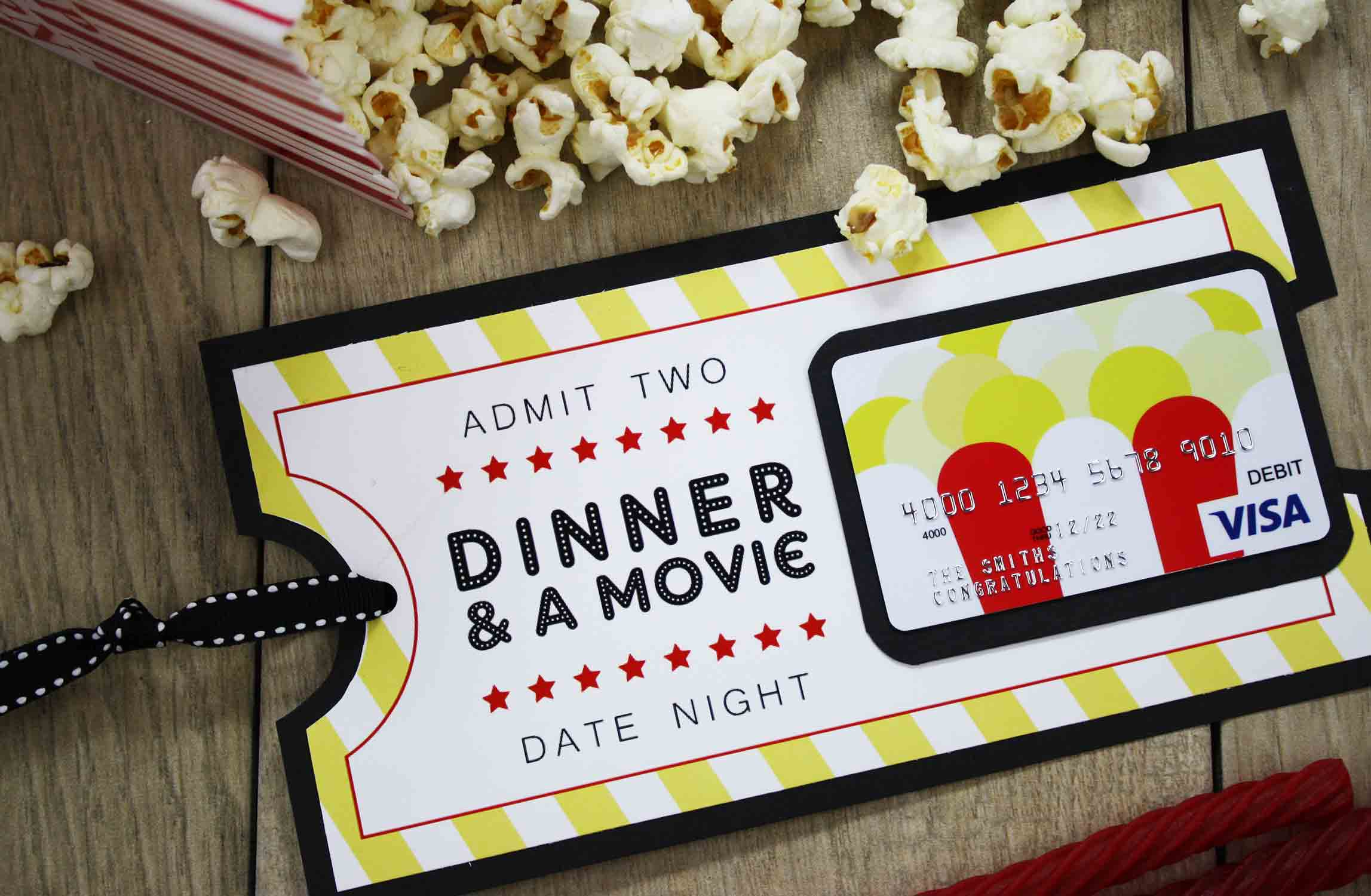 Dinner and a movie gift card printable