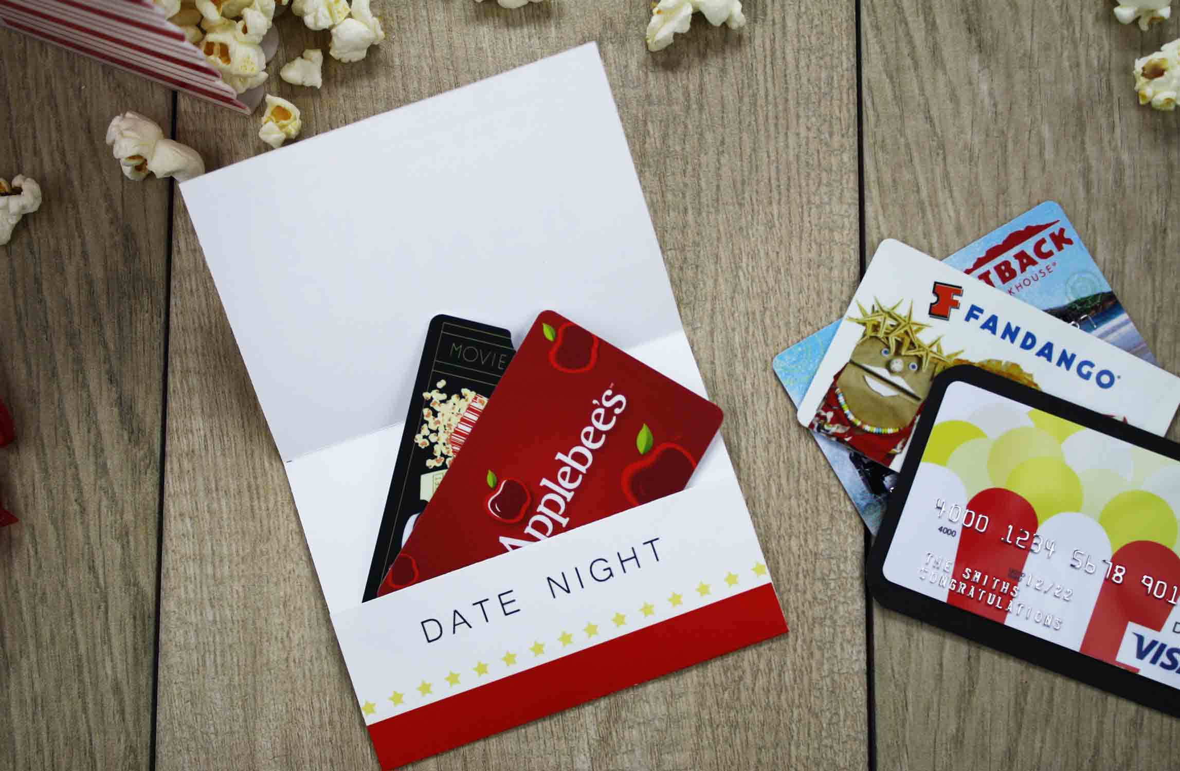 Free printable give date night for a wedding gift gcg folded gift card holder with cards in it negle