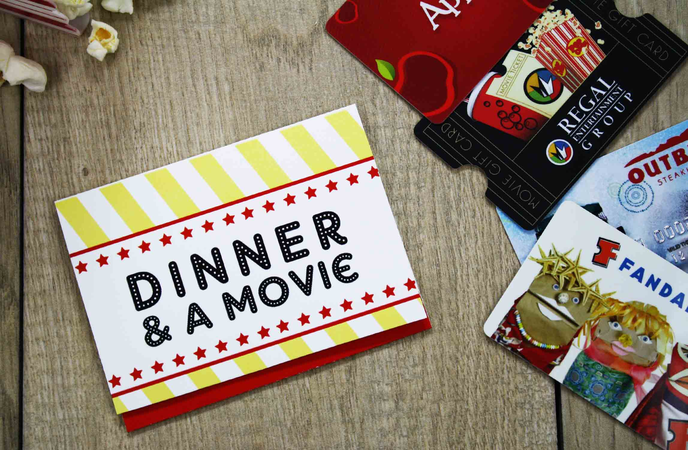 Dinner and a movie free printable gift card holder