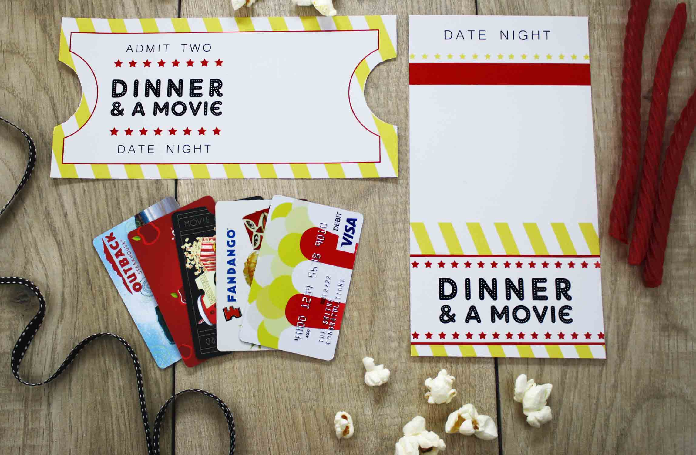 Date night gift card display