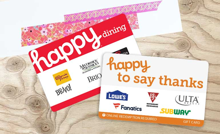happy dining and happy thanks gift card