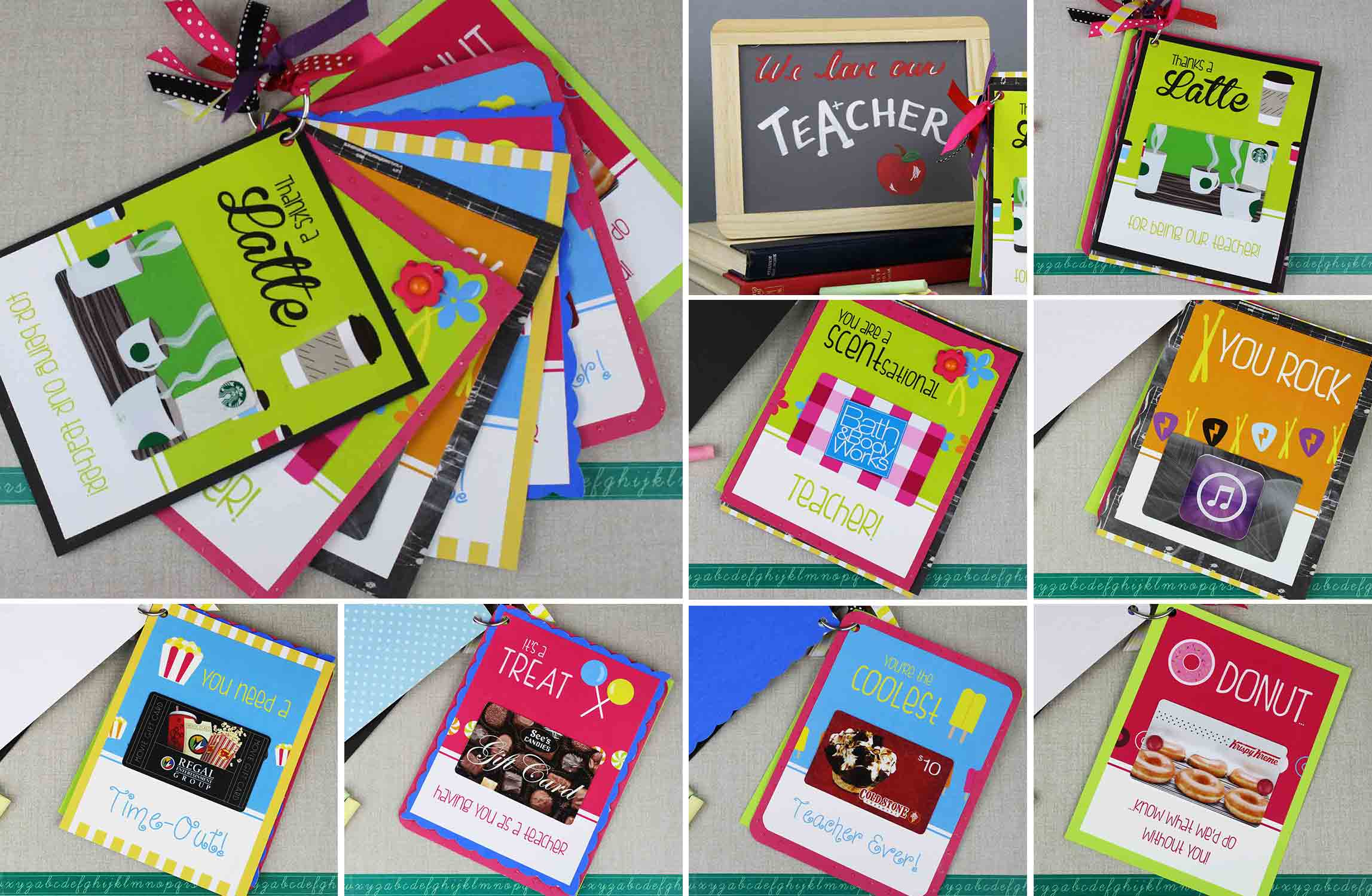 Collection of all 7 gift card holders on a key ring for teacher