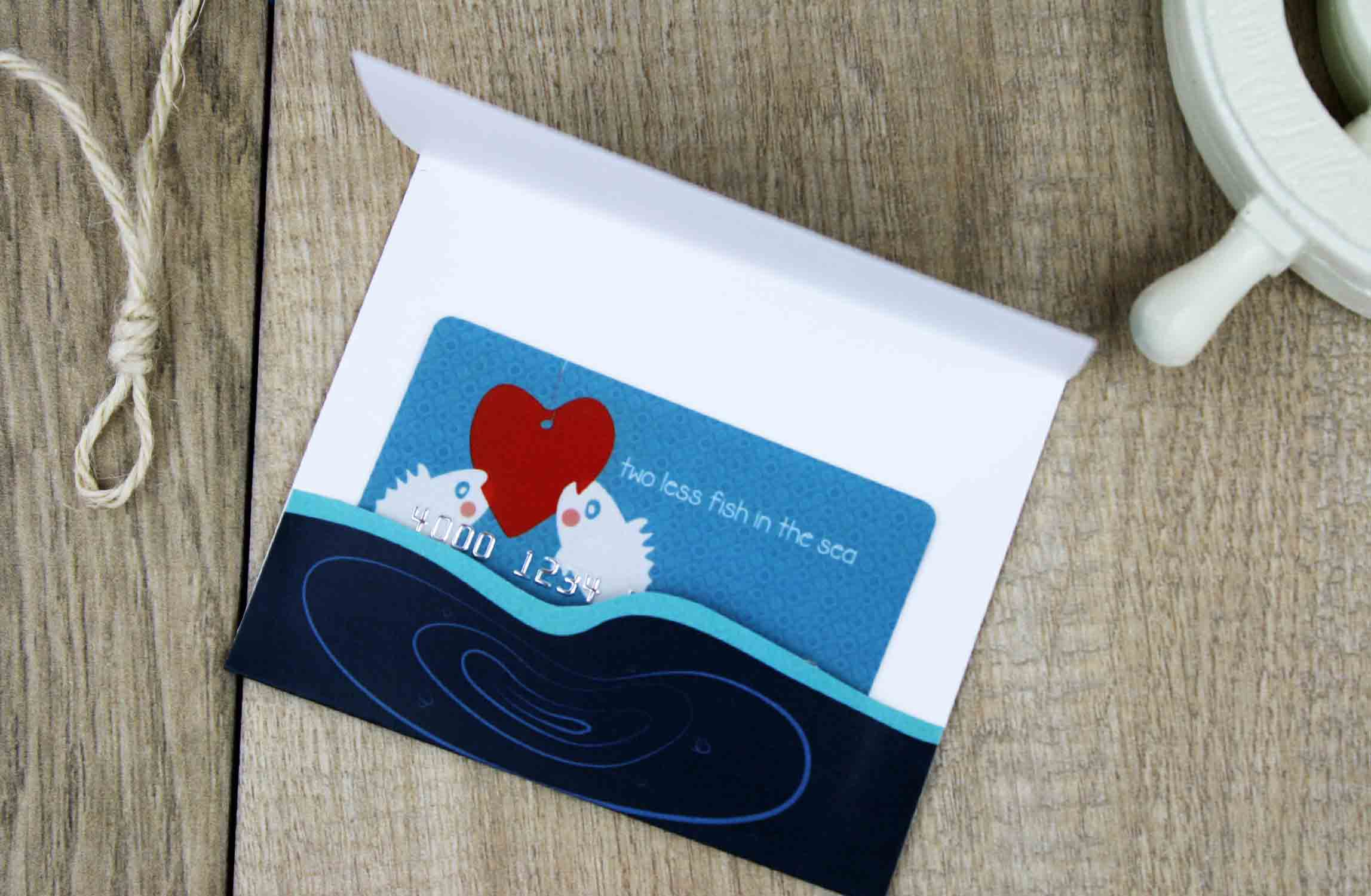 folded gift card holder with cut edges
