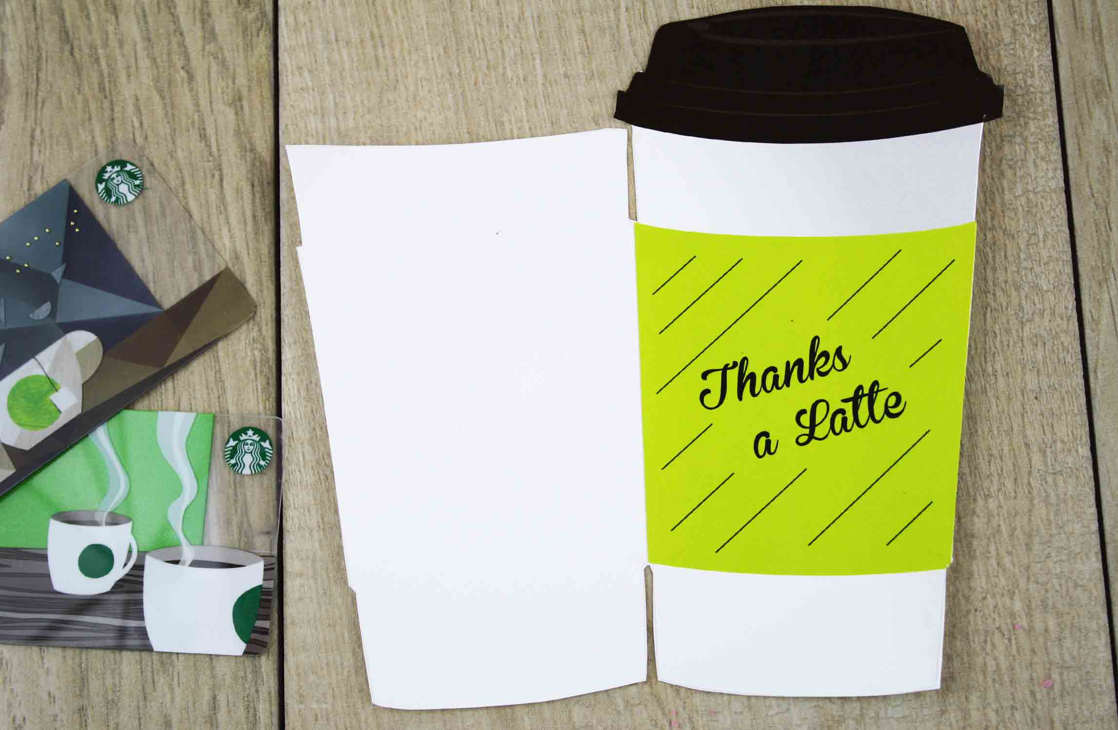 cut-out latte cup to hold a gift card