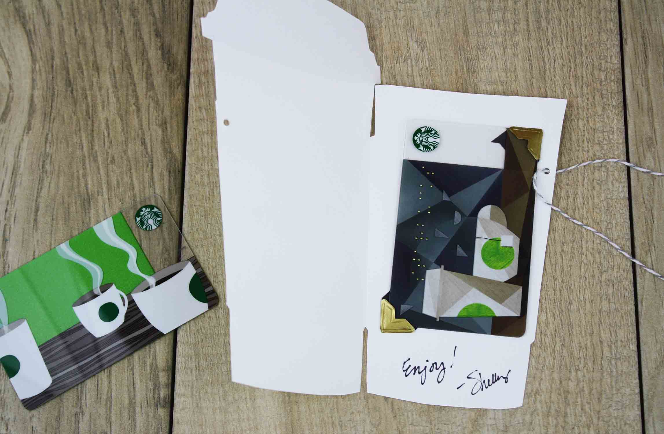inside of latte cut-out gift card holder