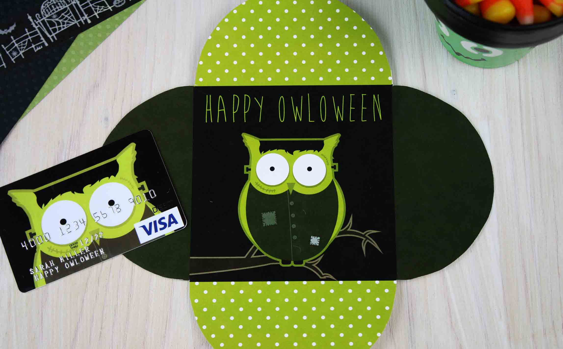 Happy OWLoween Frankenstein inside of card