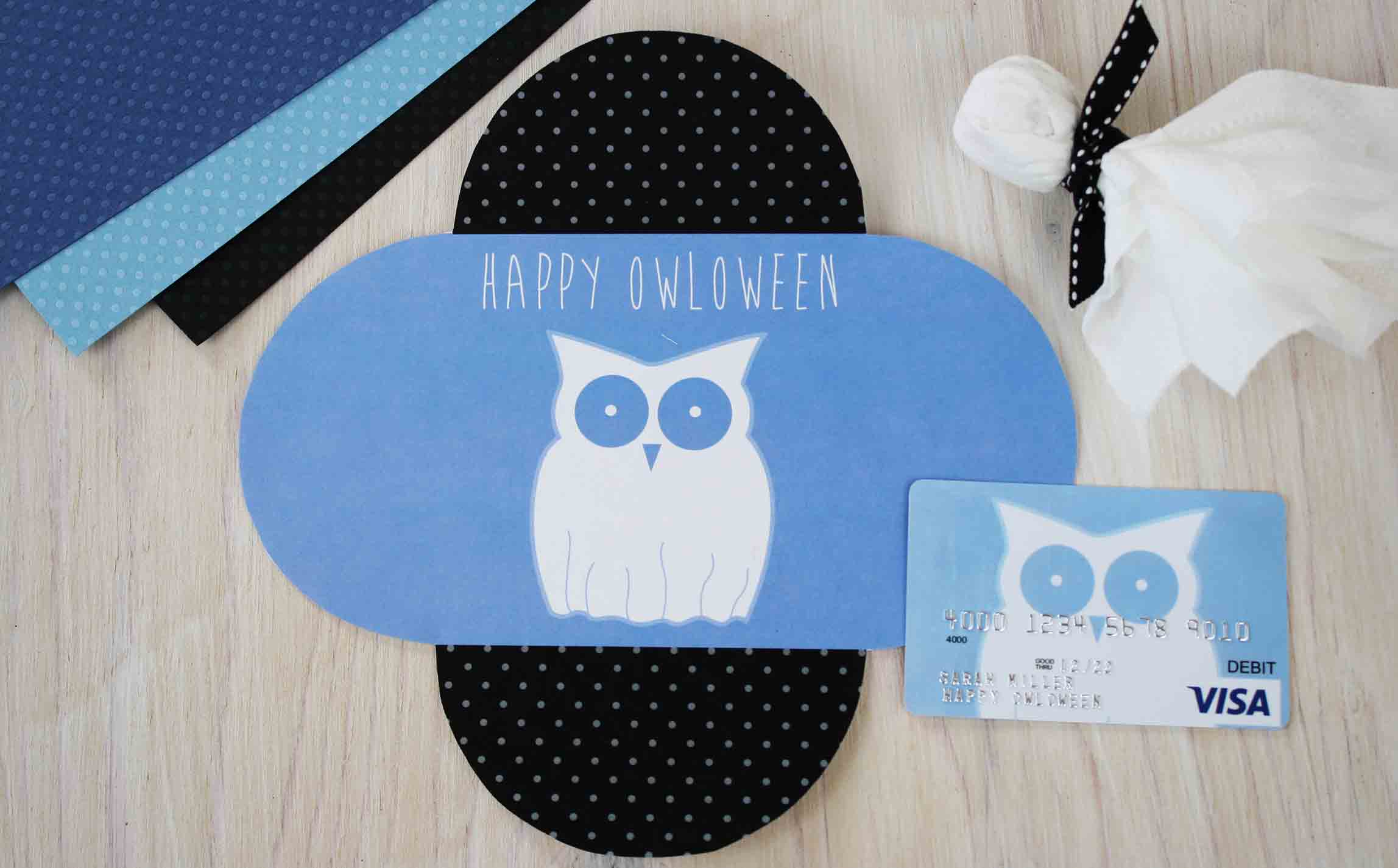 Happy OWLoween Ghost inside card