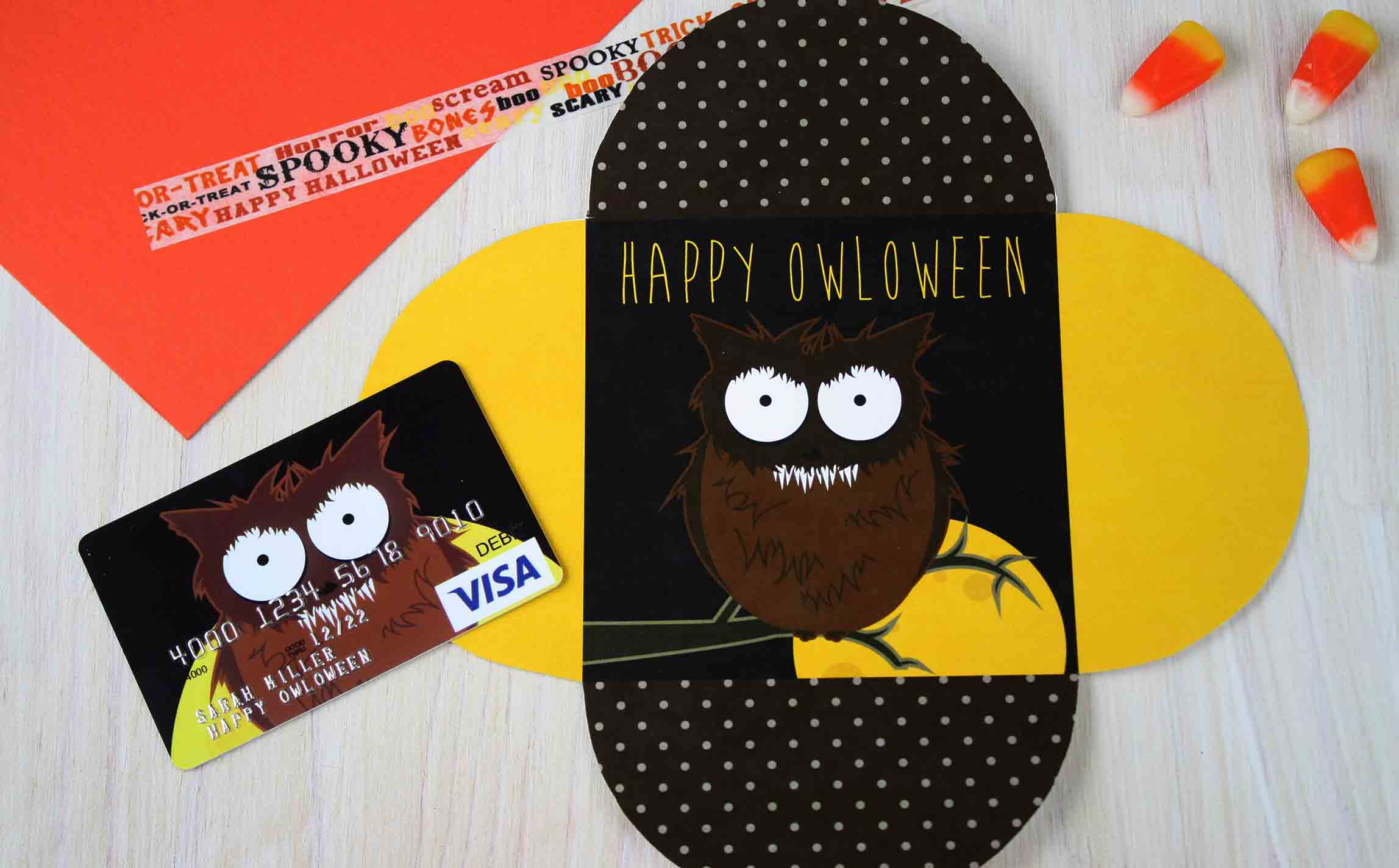 Happy OWLoween Werewolf open card