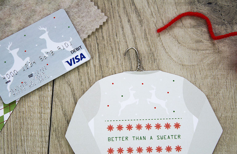 put sweater gift card holder in box