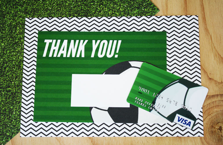 Thank you gift card with soccer ball