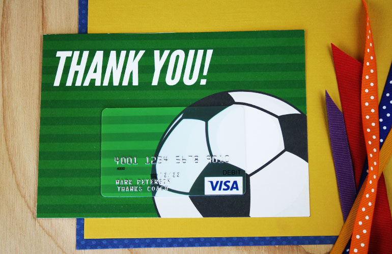 thank you gift card with Visa gift card on soccer ball