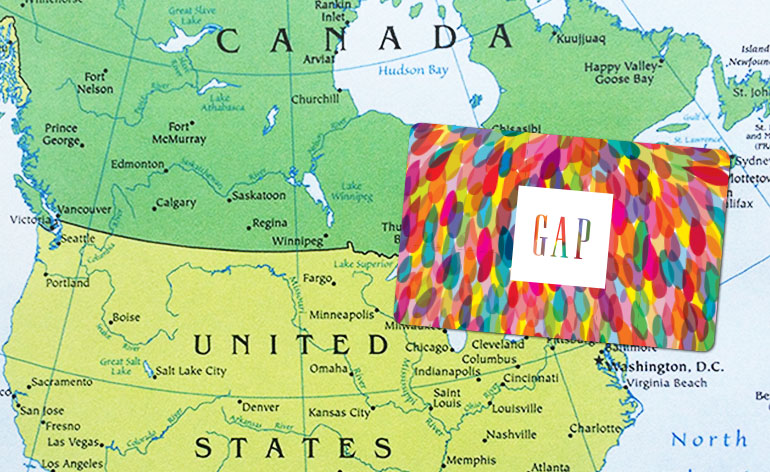 Gap gift card on map of Canada/US Border