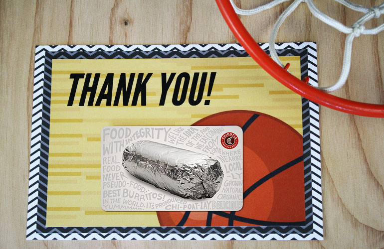 thank you gift card holder with chipotle gift card